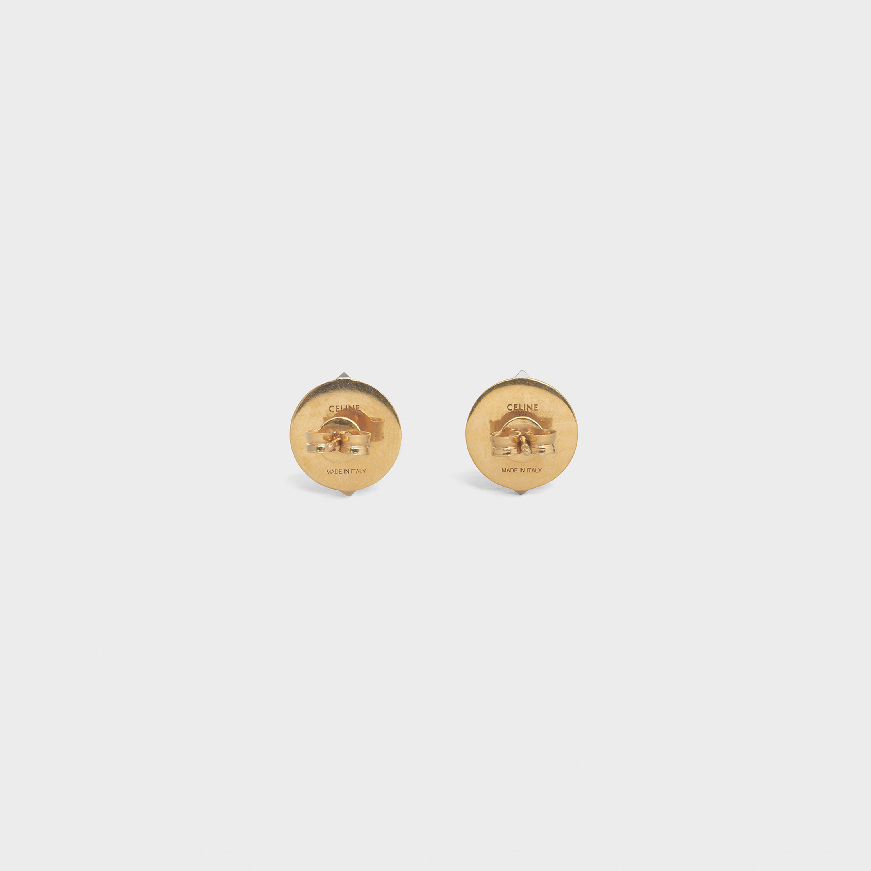Small Pyramid Studs Earrings in Brass with Gold and Rhodium finish | CELINE