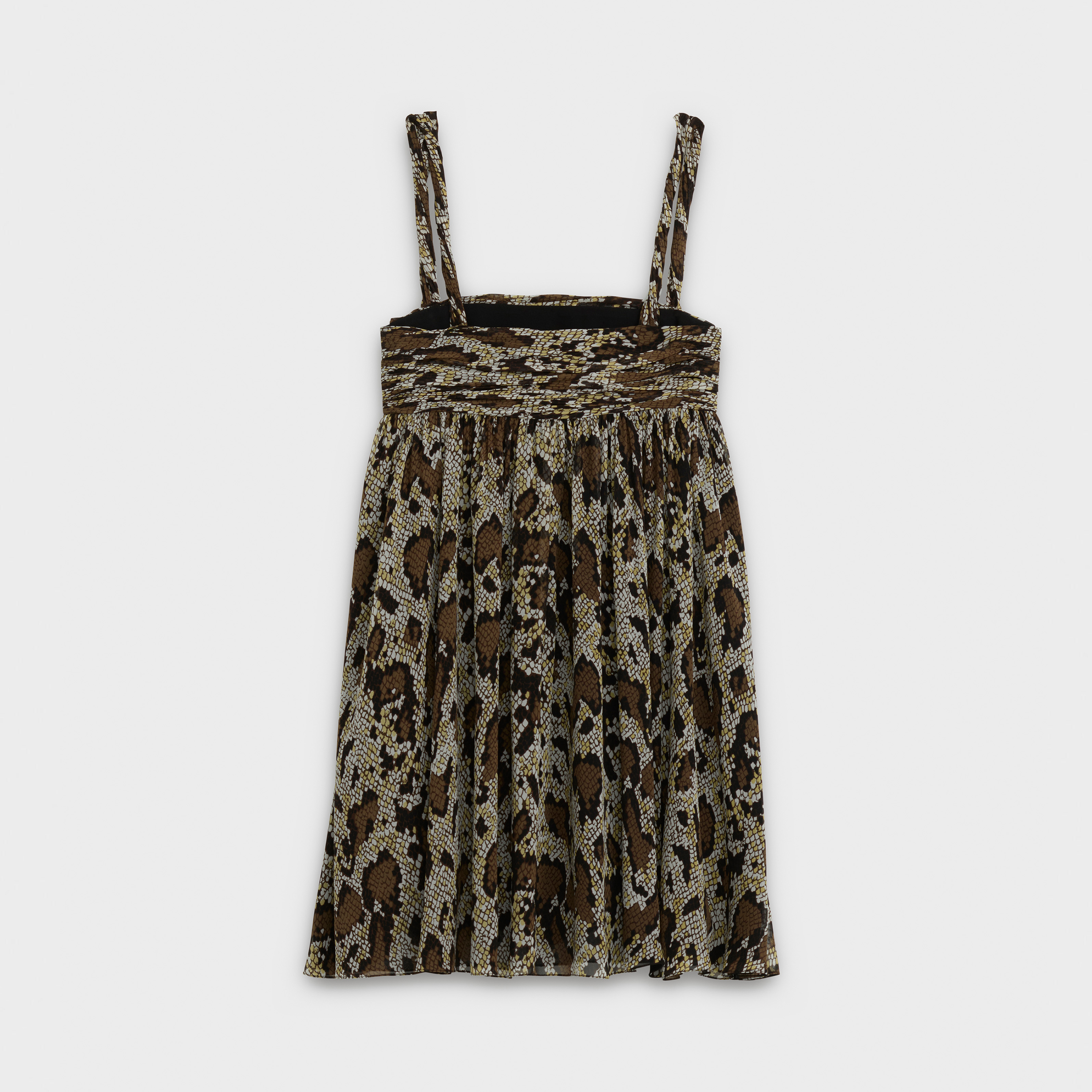 'lingerie' draped dress in snake printed silk georgette | CELINE