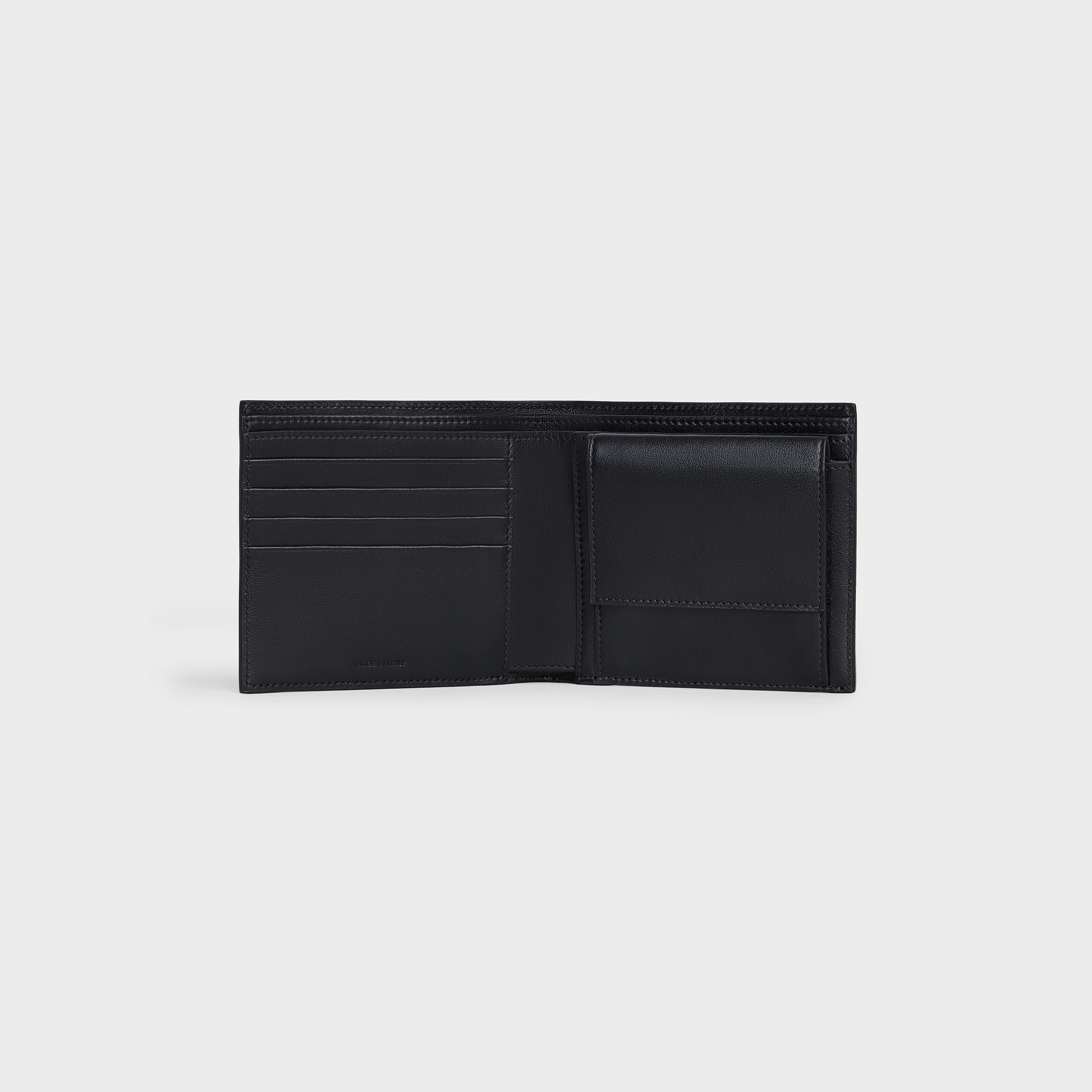 Bi-fold Wallet with Coin Compartment in grained calfskin | CELINE