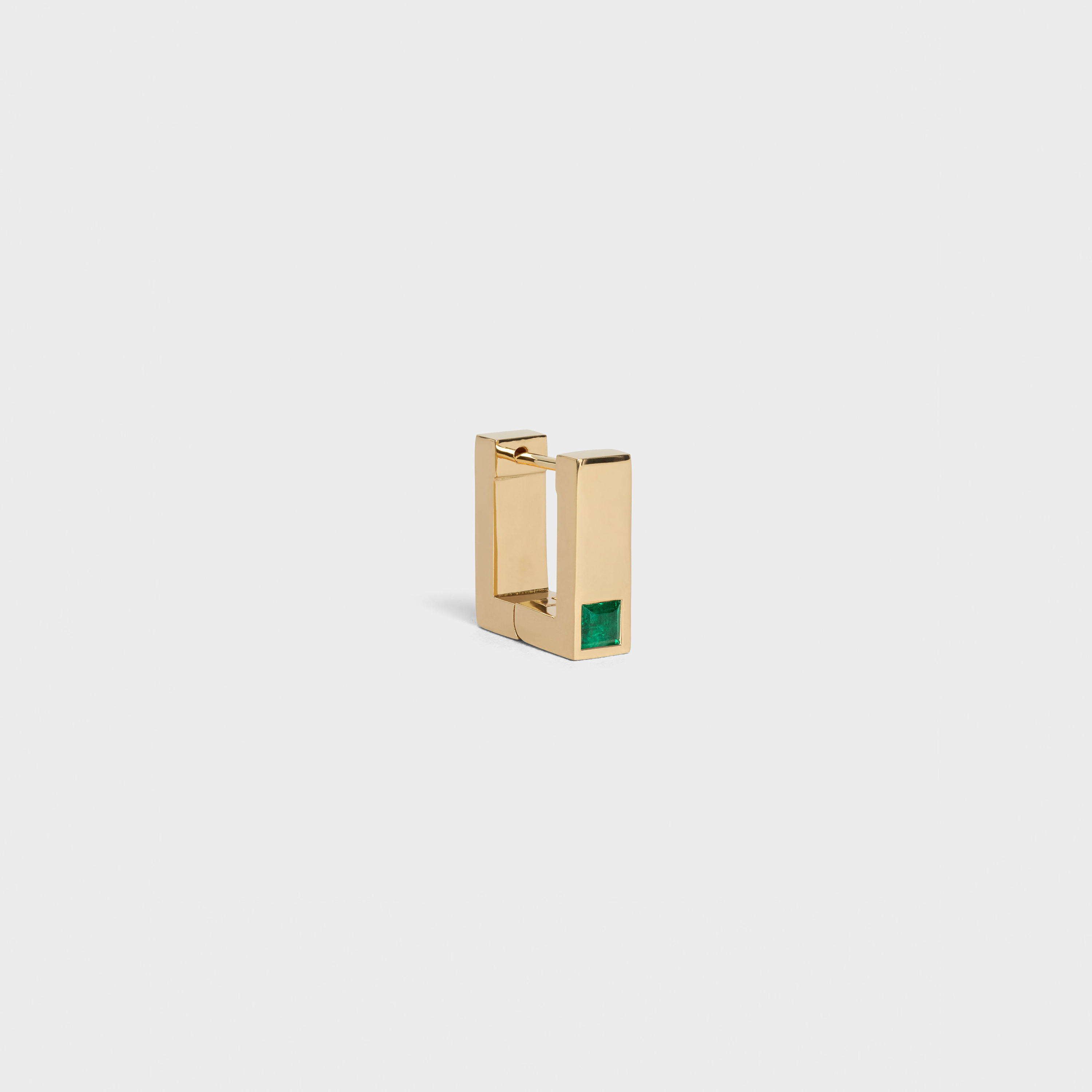 Celine Sentimental Square Earring in Yellow Gold and Emerald | CELINE