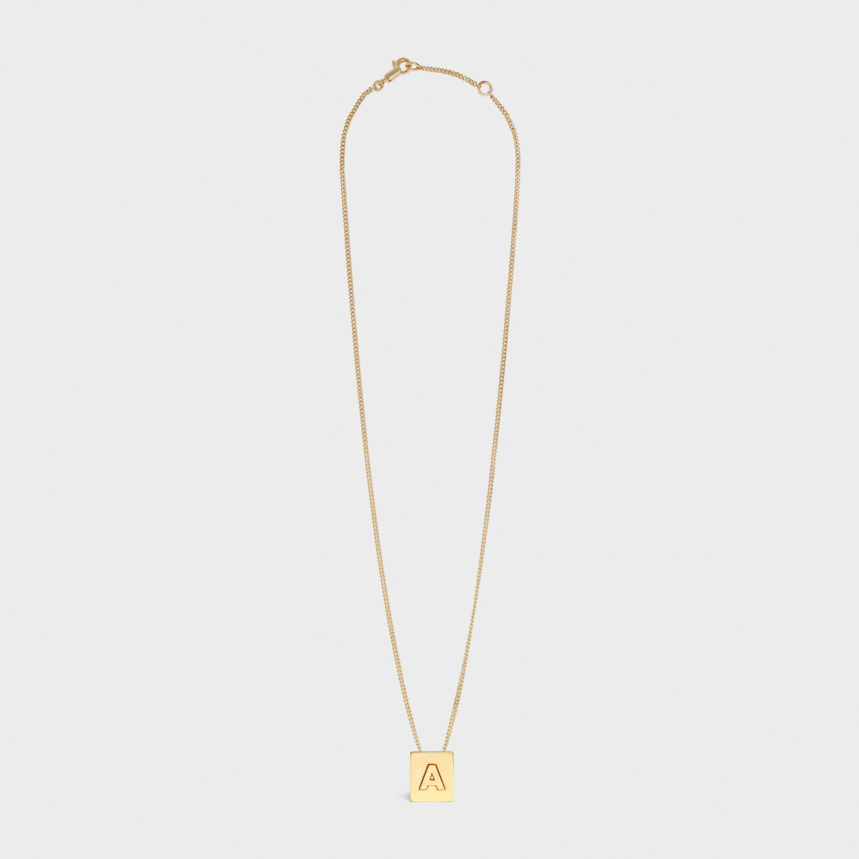 Alphabet A Necklace in Brass with Gold finish | CELINE