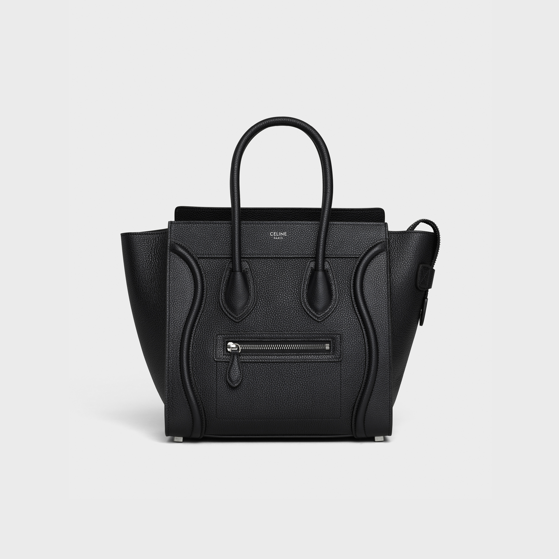 Micro Luggage Handbag In Drummed Calfskin Black 189793dru 38no Celine