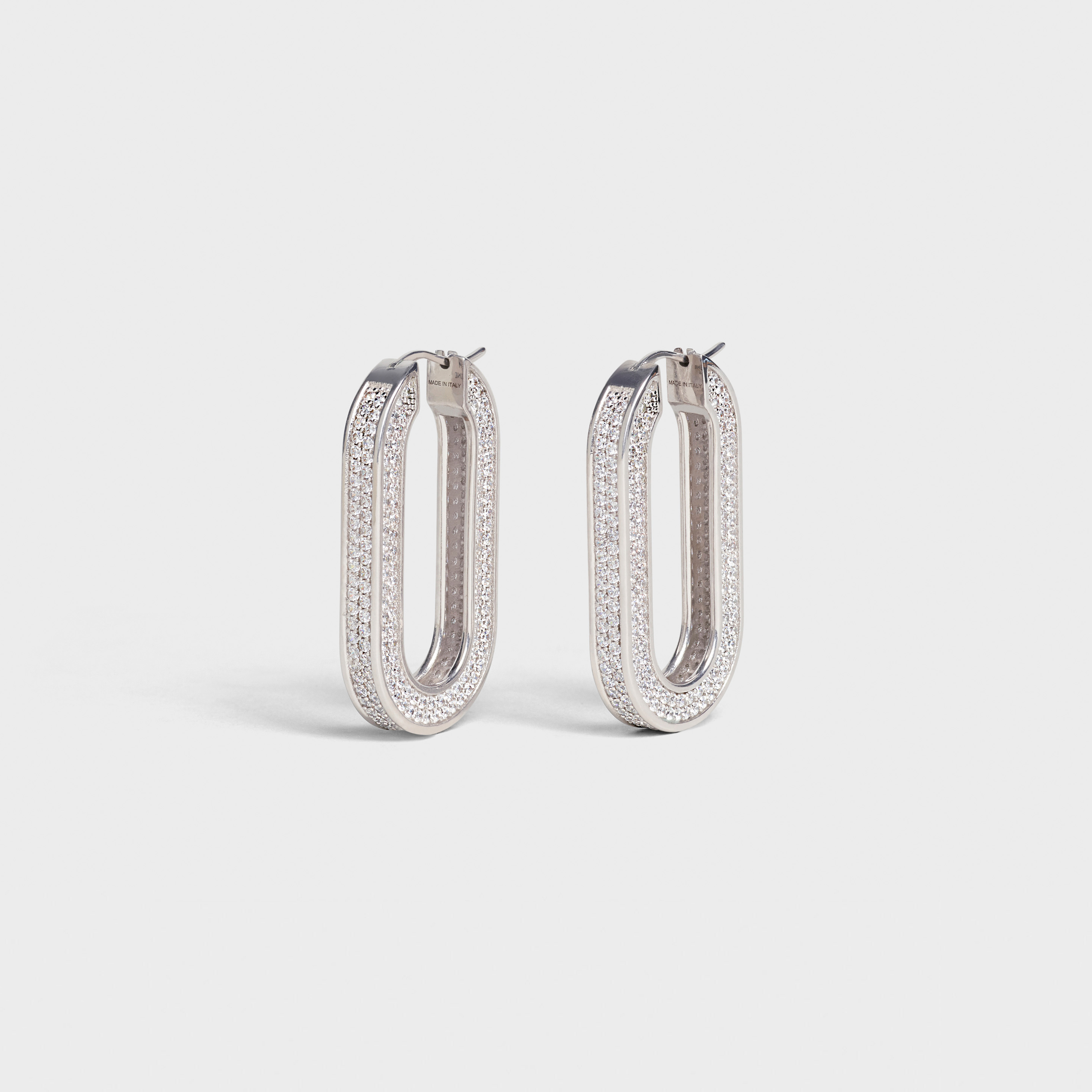 Edwige Hoops in Brass with Rhodium finish and Crystals | CELINE