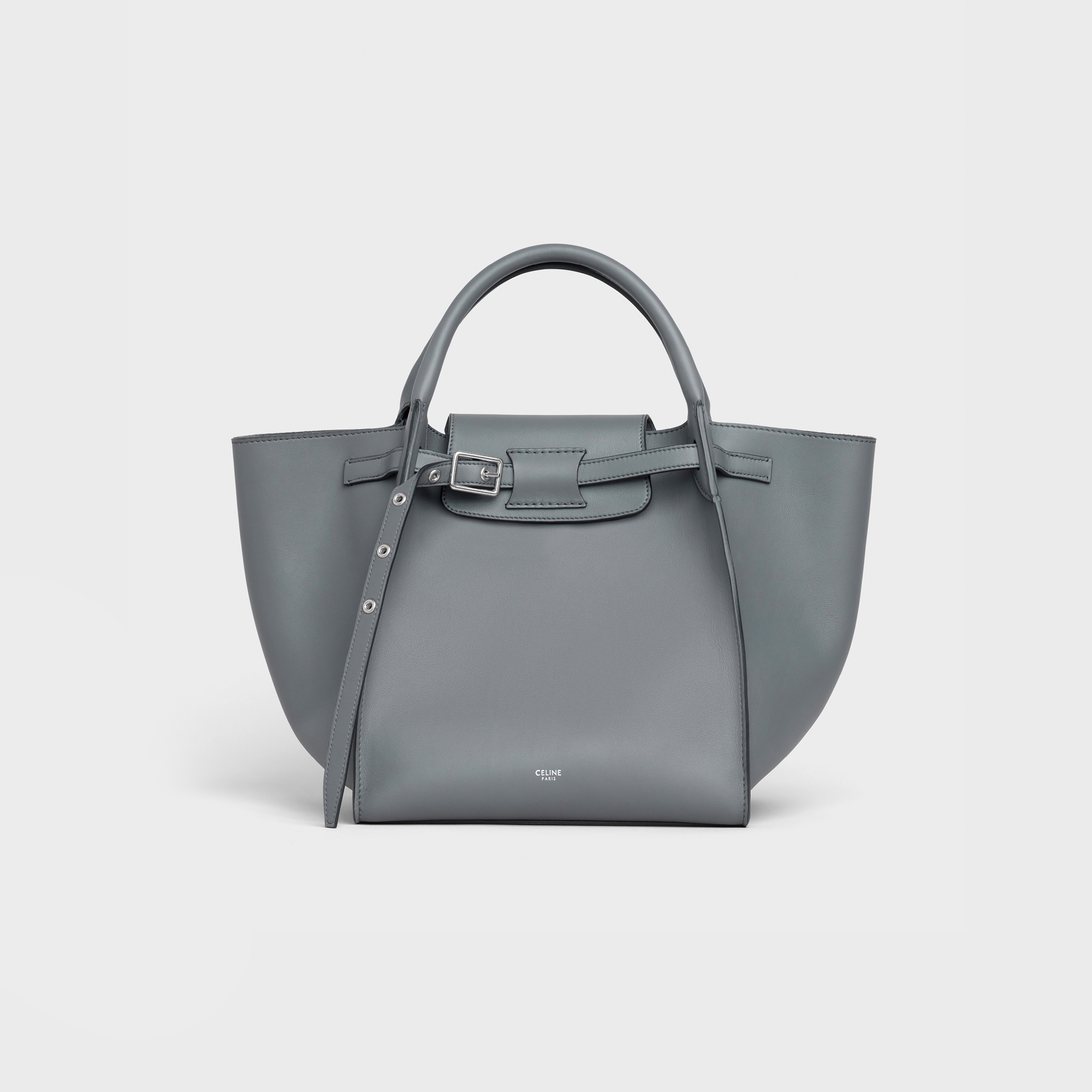 014a7e79ac Small Big Bag with long strap in smooth calfskin - Medium grey - Official  website