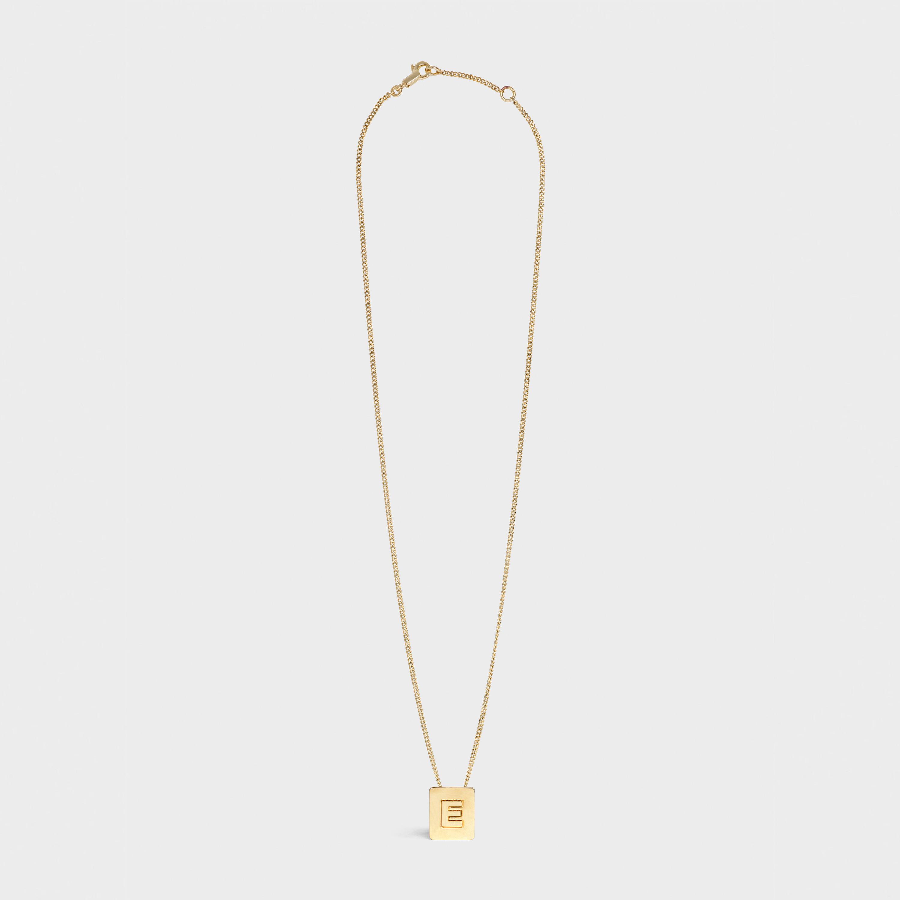 Alphabet E Necklace in Brass with Gold finish | CELINE