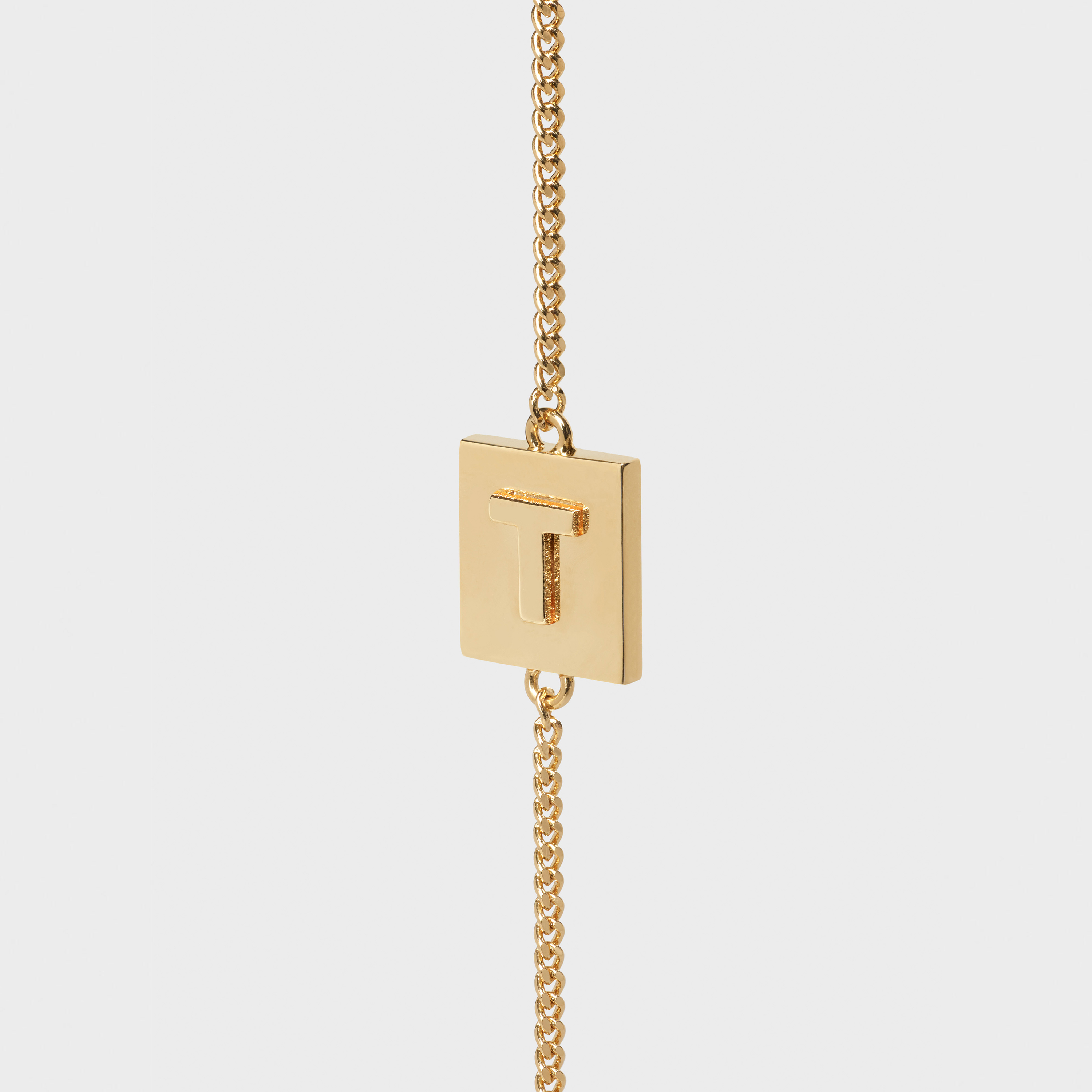 Alphabet T Bracelet in Brass with Gold Finish | CELINE