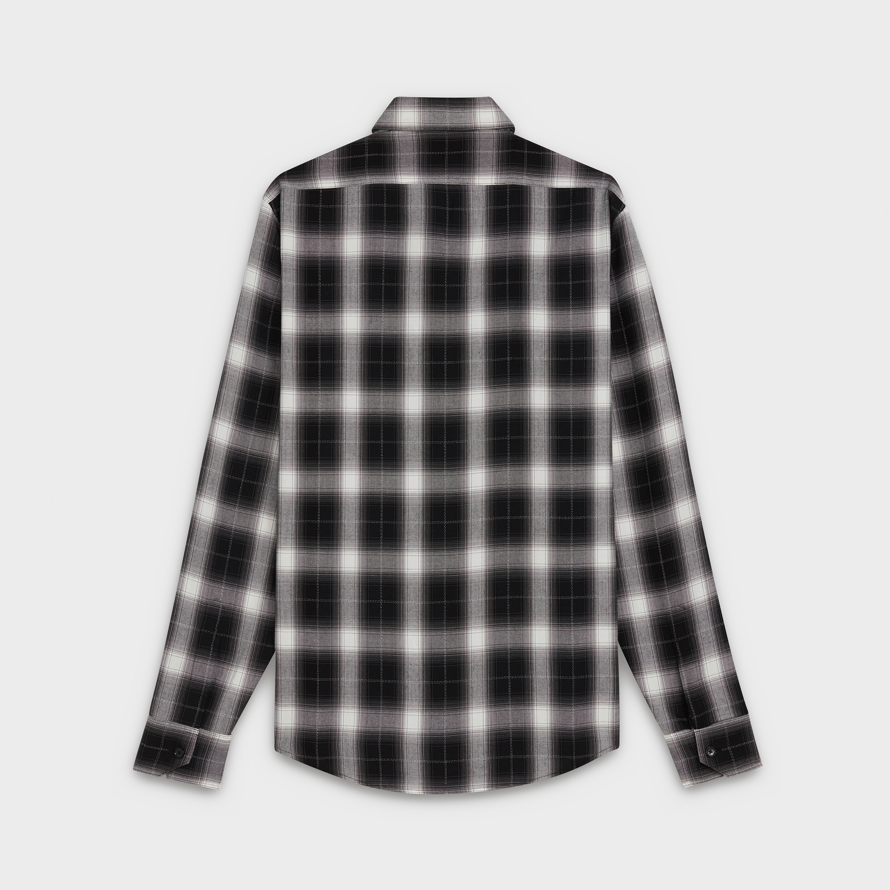 classic shirt in graded checker printed viscose with modern collar | CELINE