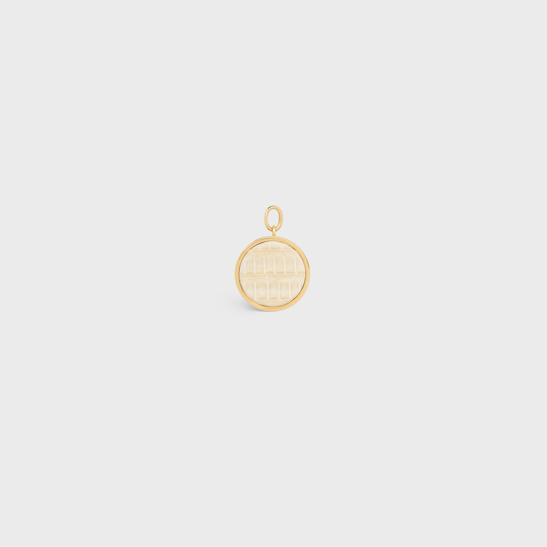 Kleiner Celine Separables Halbkugel Anhänger aus Messing mit Gold Finish und Eidechsenleder