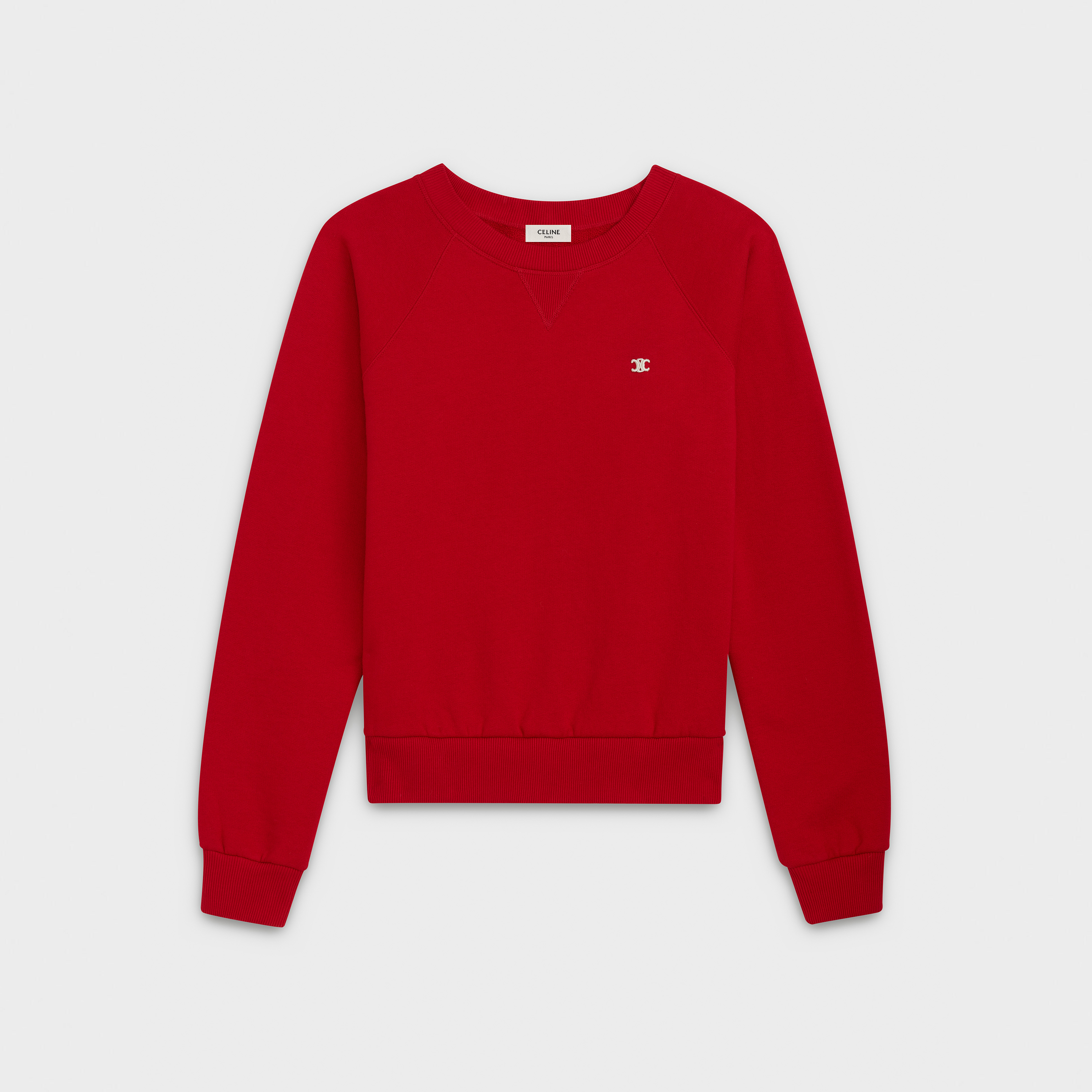 crew neck classic sweatshirt in college fleece, embroidered 'Triomphe' signature | CELINE