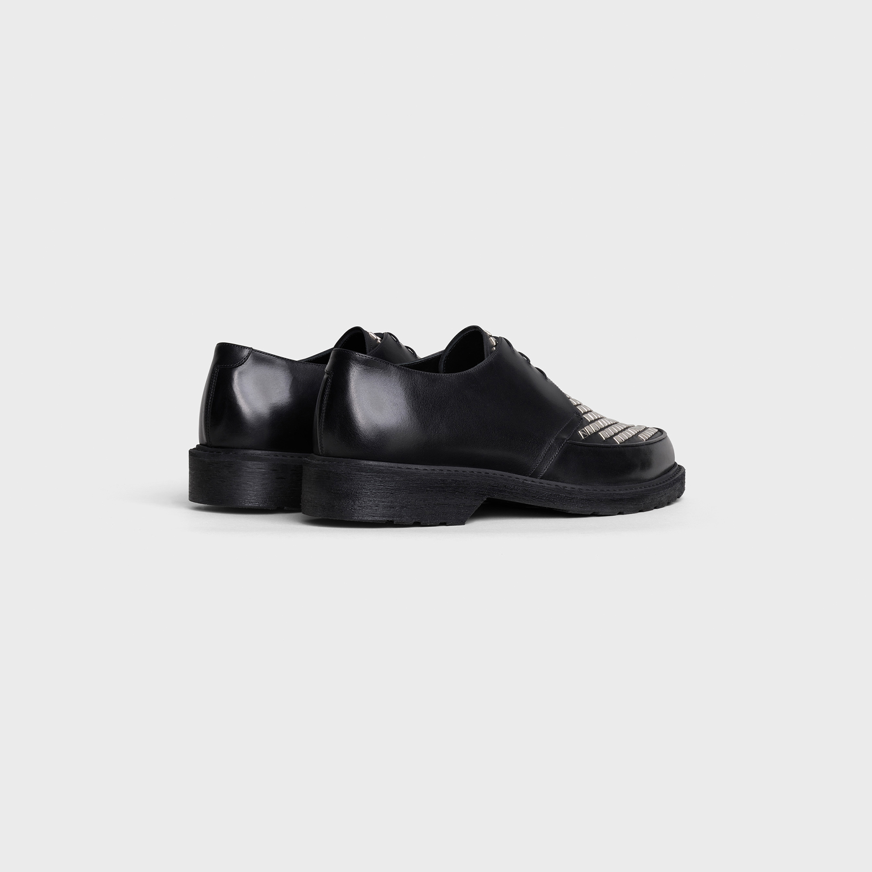 CELINE CREEPERS Derby with studded apron in Shiny calfskin | CELINE