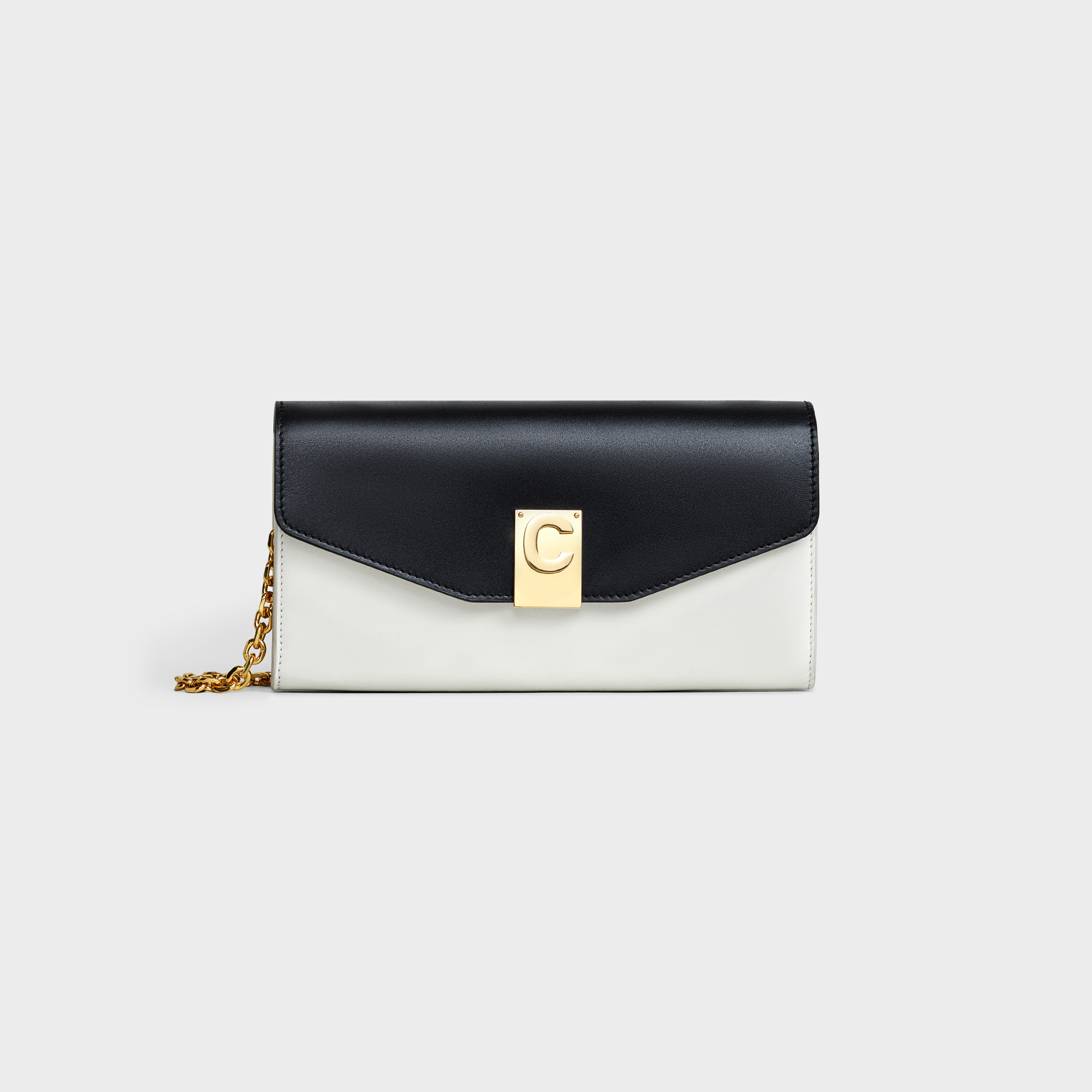 C Wallet on Chain in Bicolour smooth calfskin | CELINE