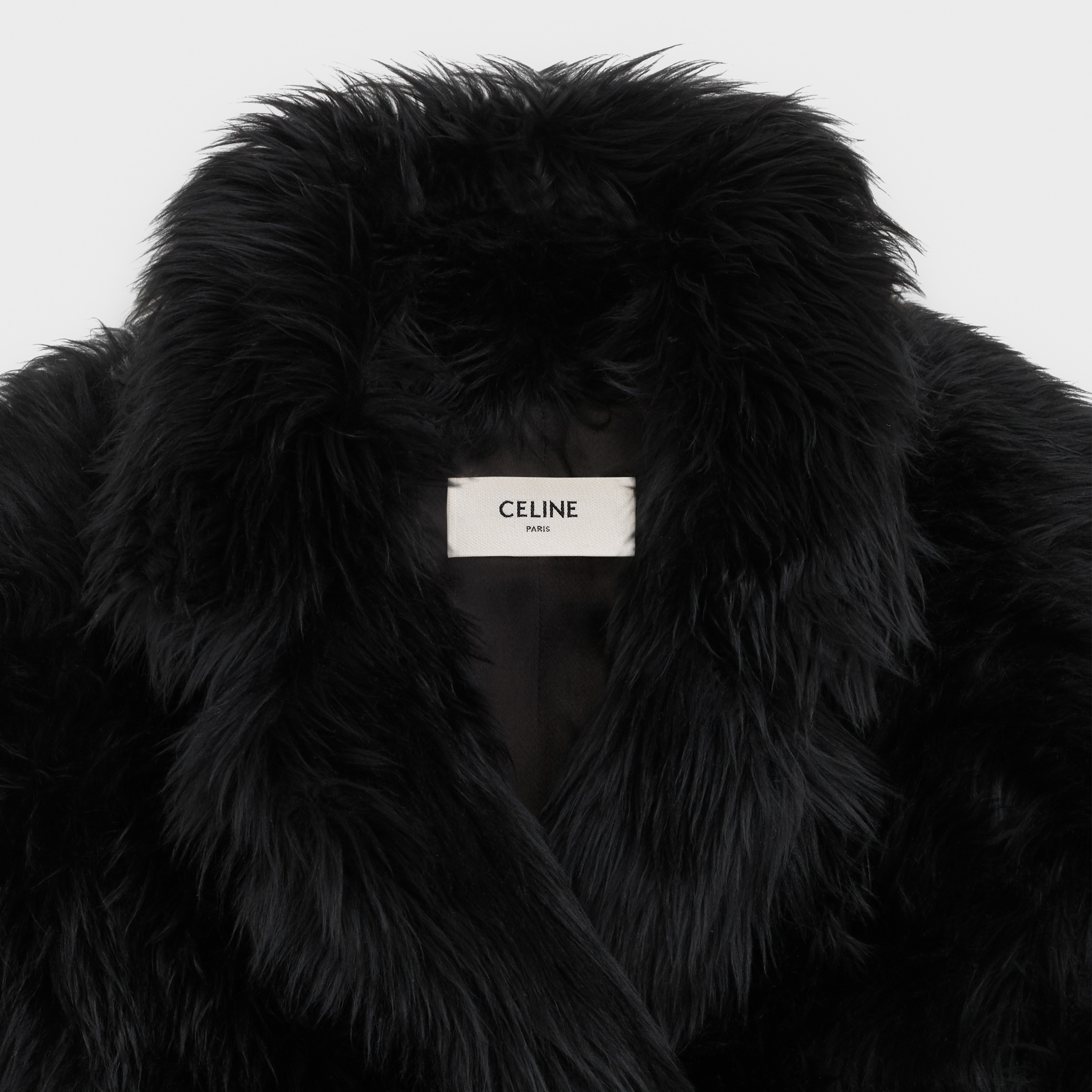 double-breasted coat in hairy shearling | CELINE