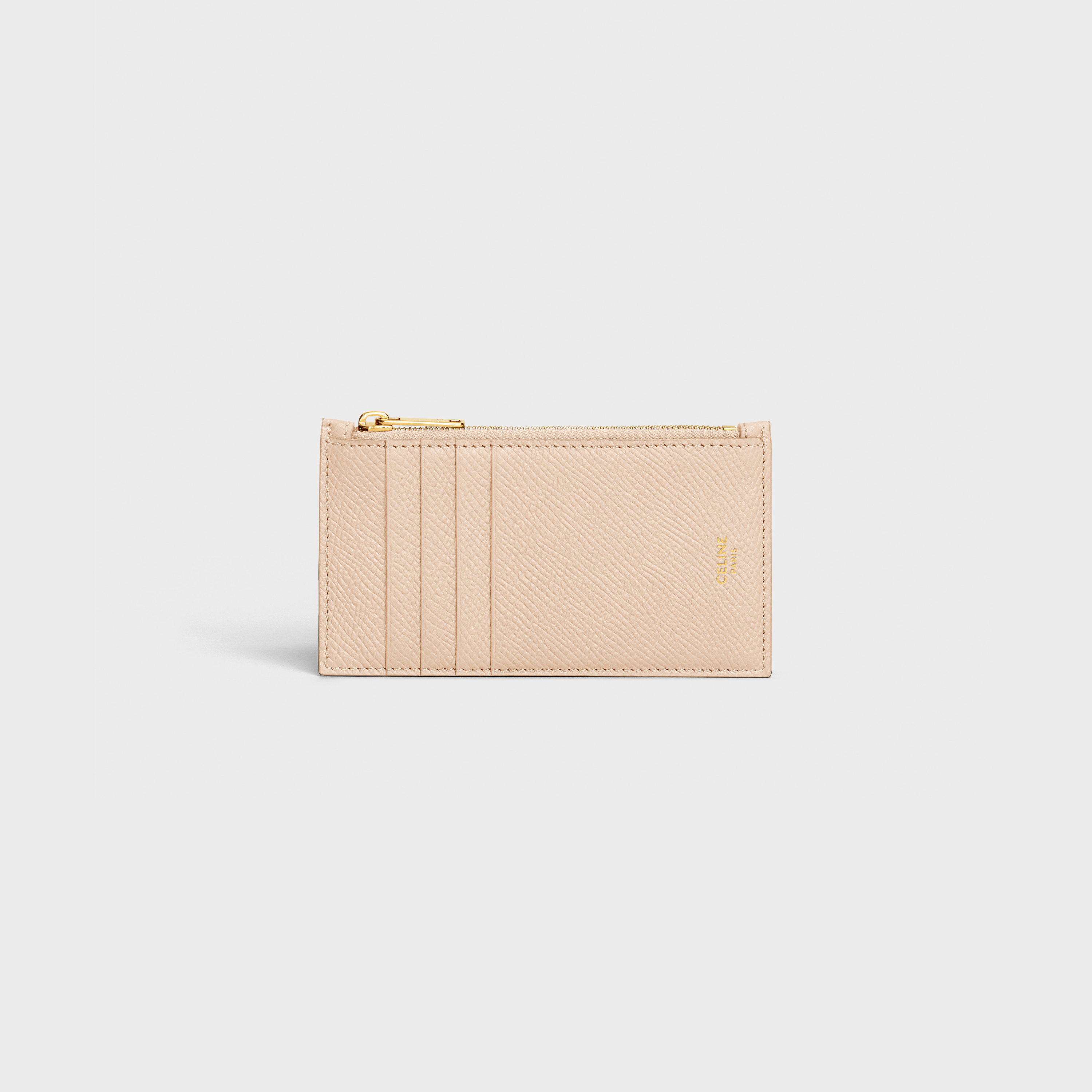 Zipped compact card holder in Grained calfskin | CELINE