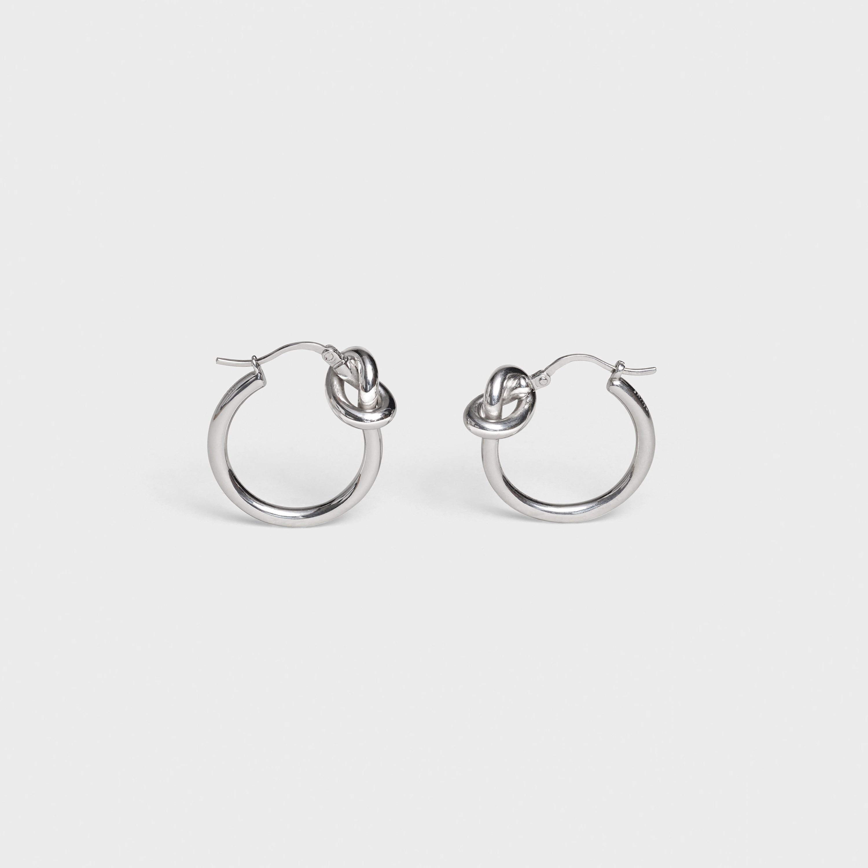 Knot Small Hoops in Brass with Rhodium finish | CELINE