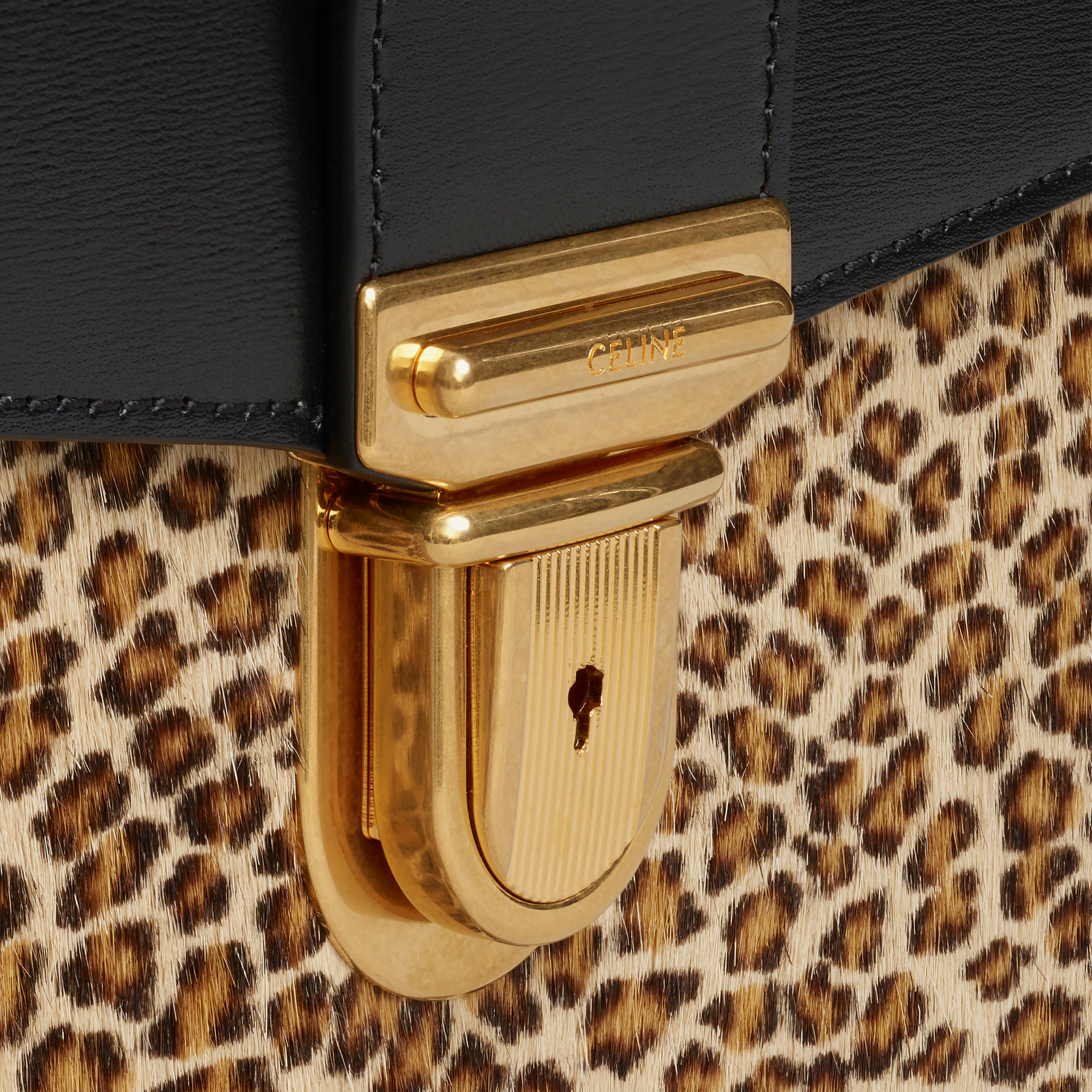 Small Cartable Bag in Pony calfskin with Leopard print and Calfskin | CELINE