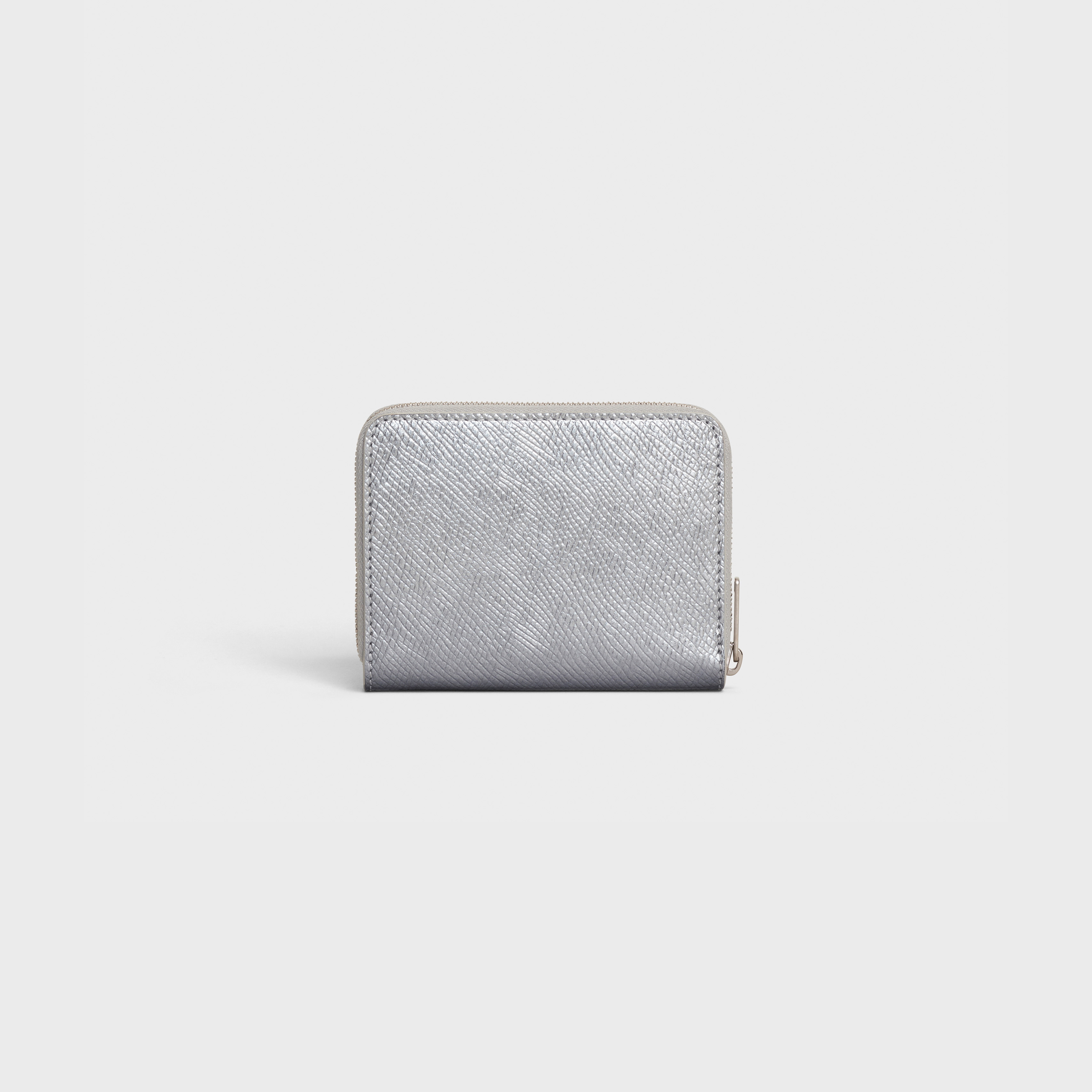 Compact zipped wallet in laminated grained calfskin | CELINE