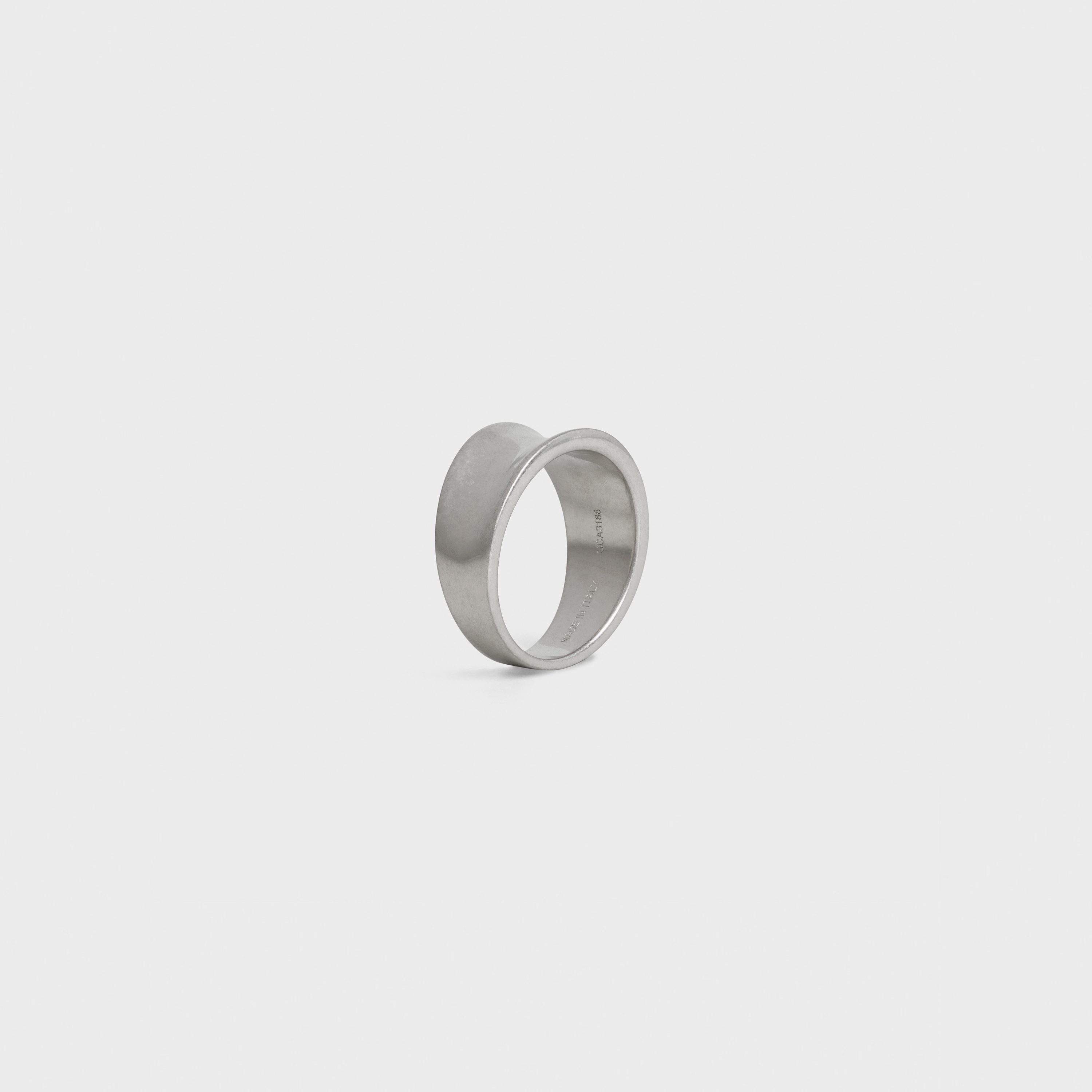 Simple Forms Curved Ring in Brass with Rhodium finish | CELINE
