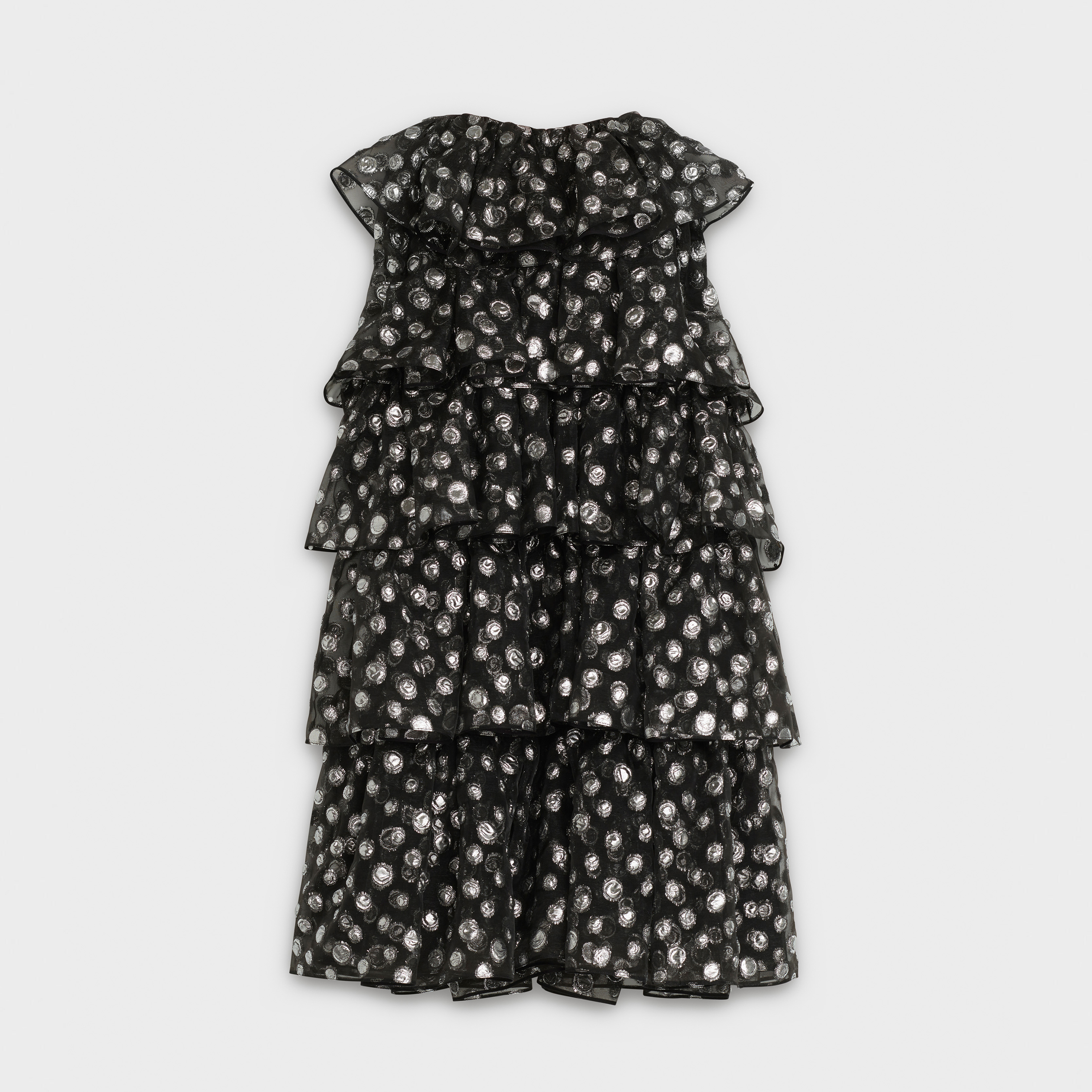 sleeveless short dress with frills in organza with irregular lamé dots in polyamide | CELINE