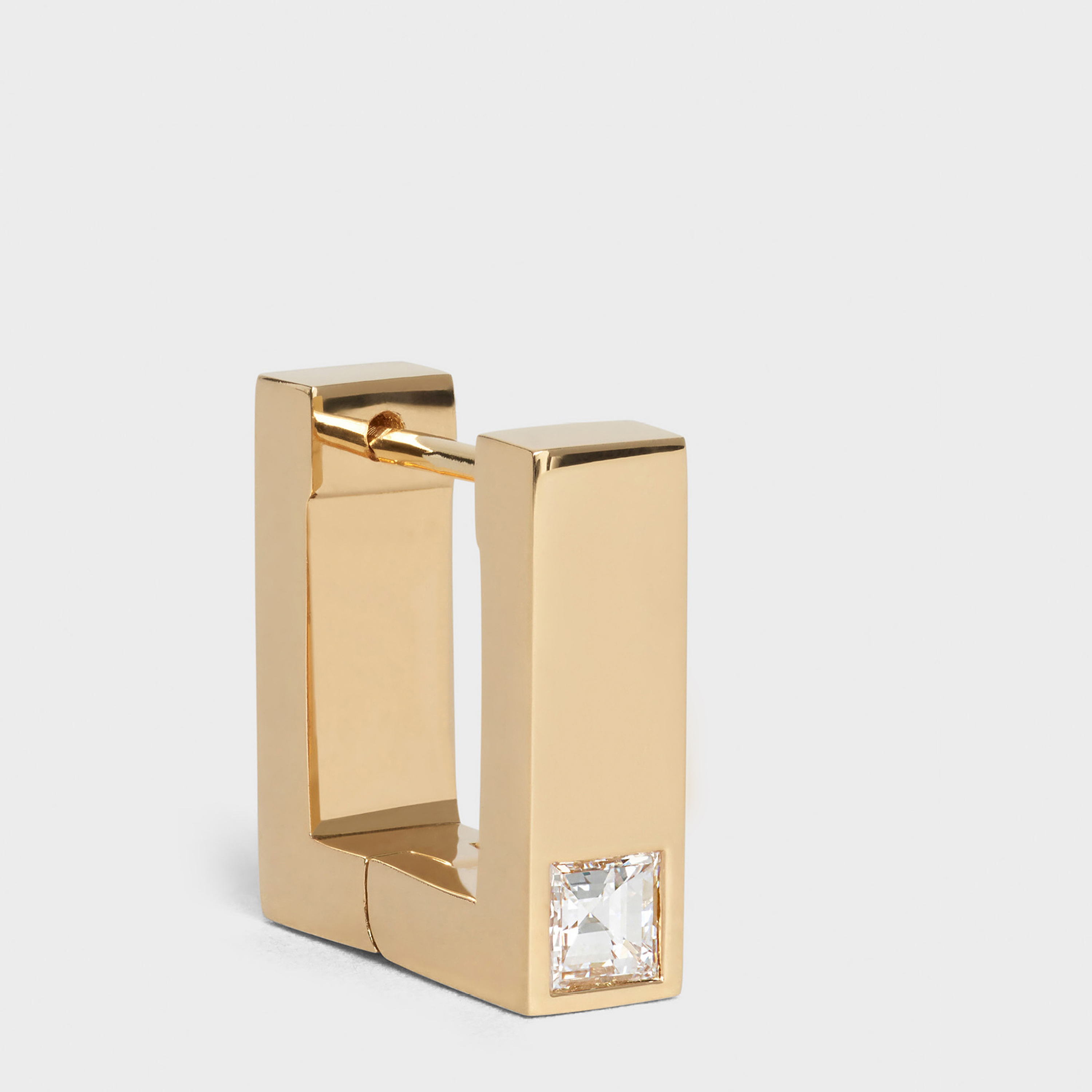 Celine Sentimental Square Earring in Yellow Gold and Diamond | CELINE