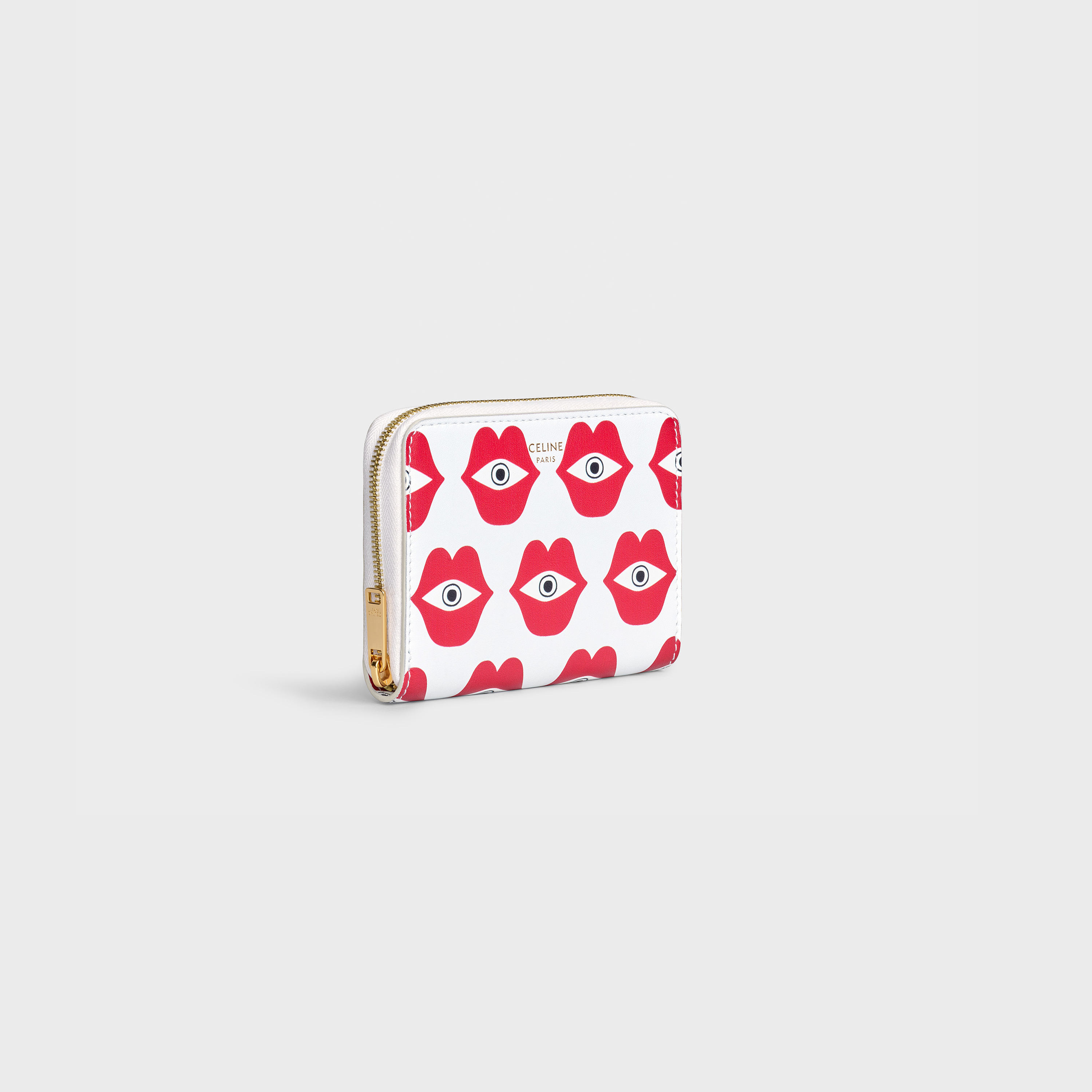 "Compact zipped wallet in Calfskin with Anneli Henriksson ""Telepathic Love"" print 