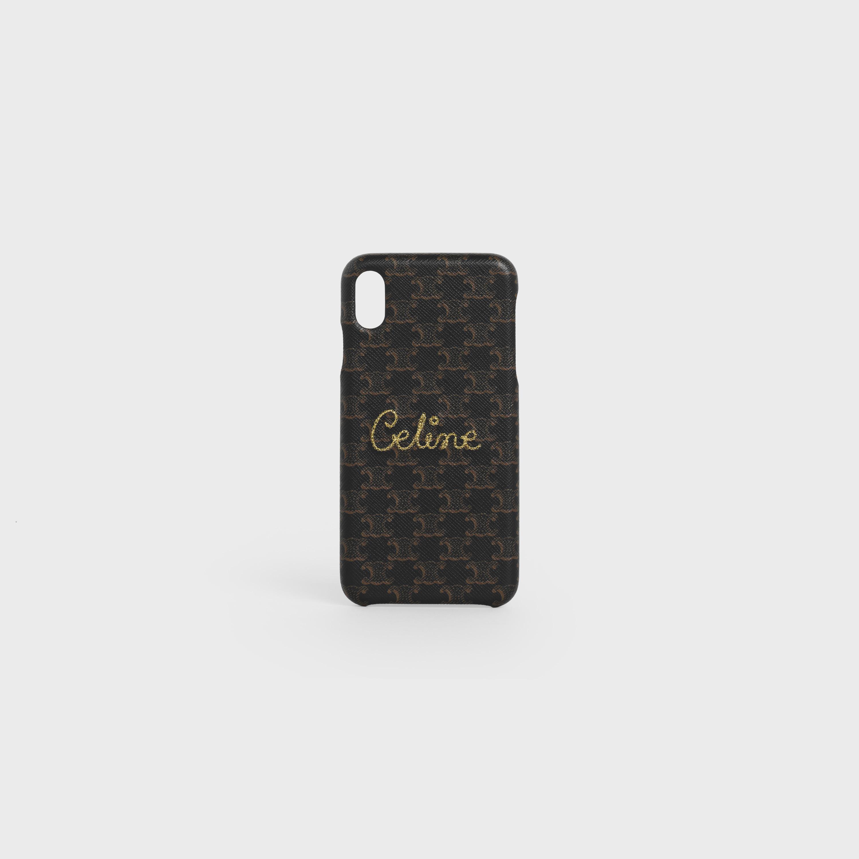 Cover per iPhone XS Max in pelle di agnello con stampa tela Triomphe e decorazione Celine