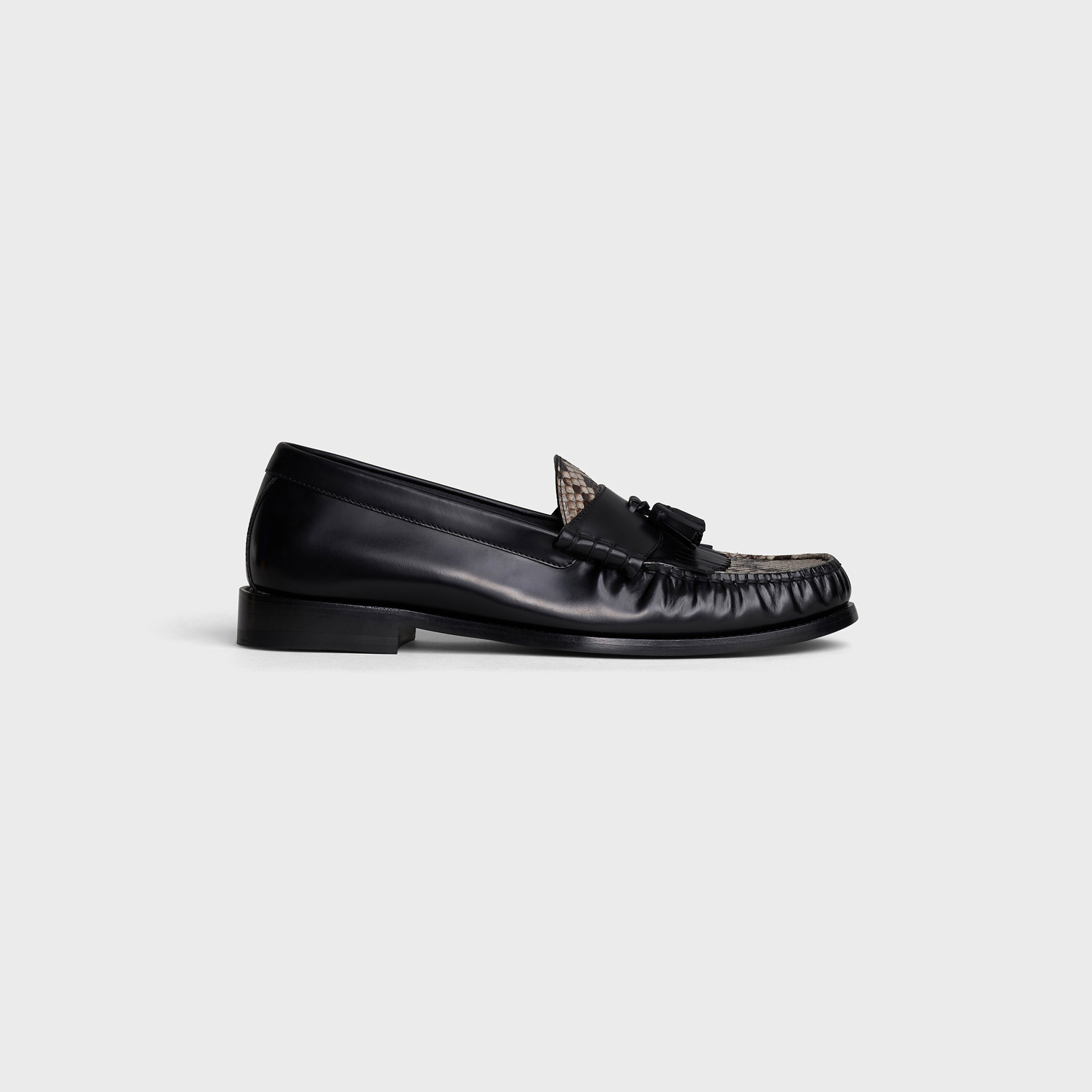 CELINE LUCO Loafer in Polished calfskin & Shiny python | CELINE