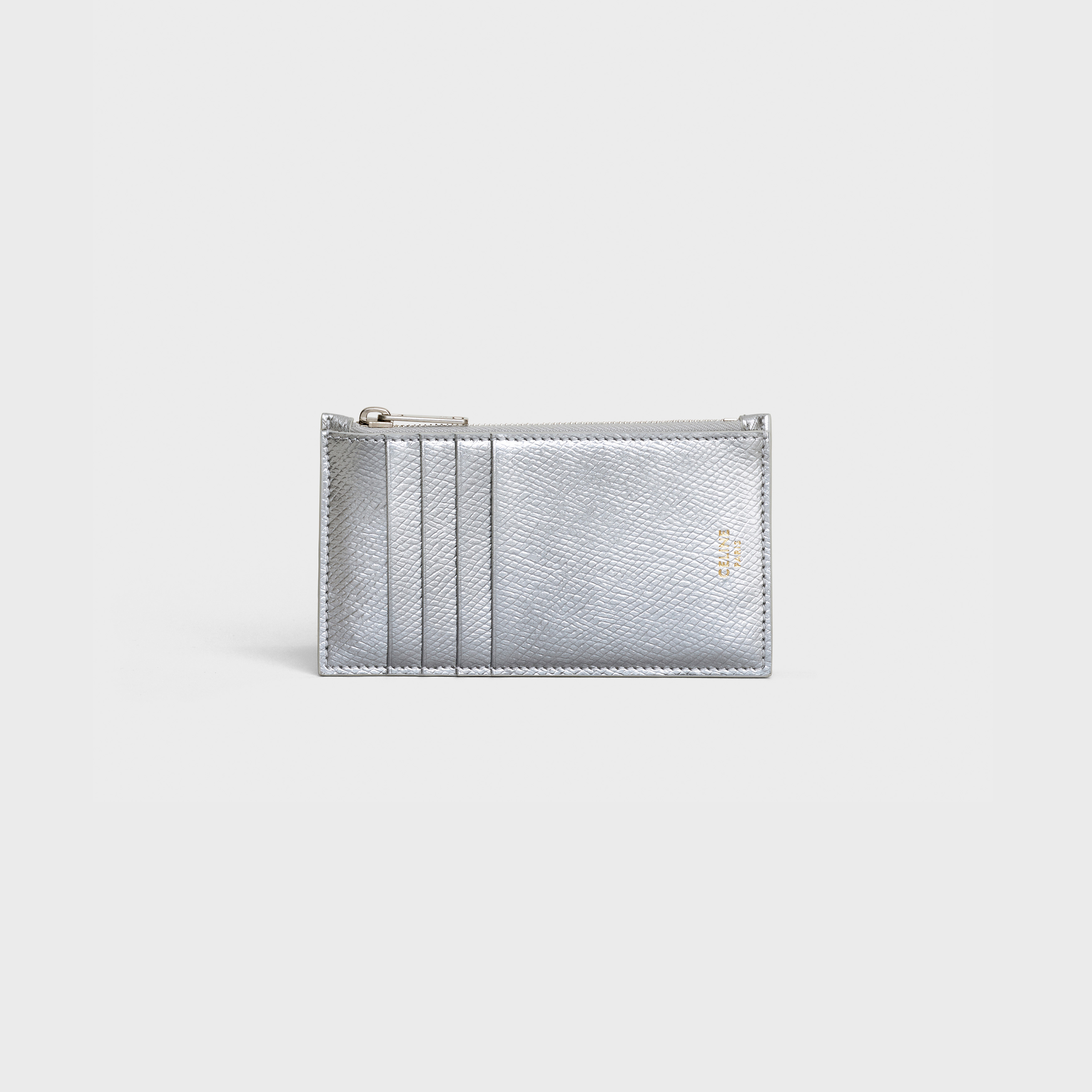 Zipped compact card holder in laminated grained calfskin | CELINE