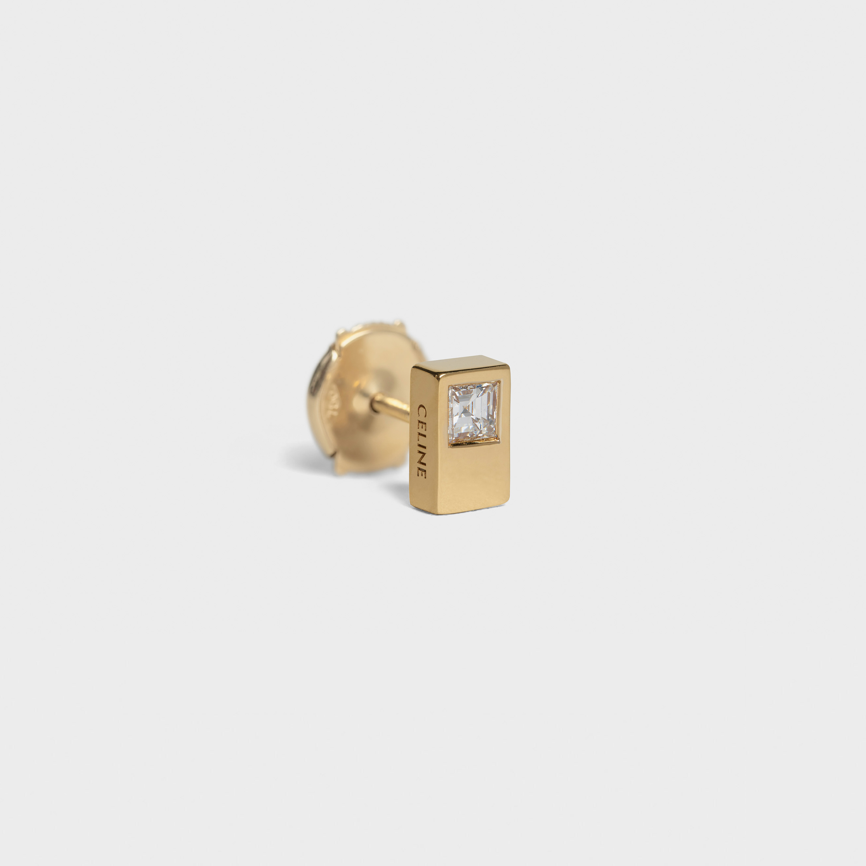 Celine Sentimental Double Square Stud in Yellow Gold and Diamond | CELINE