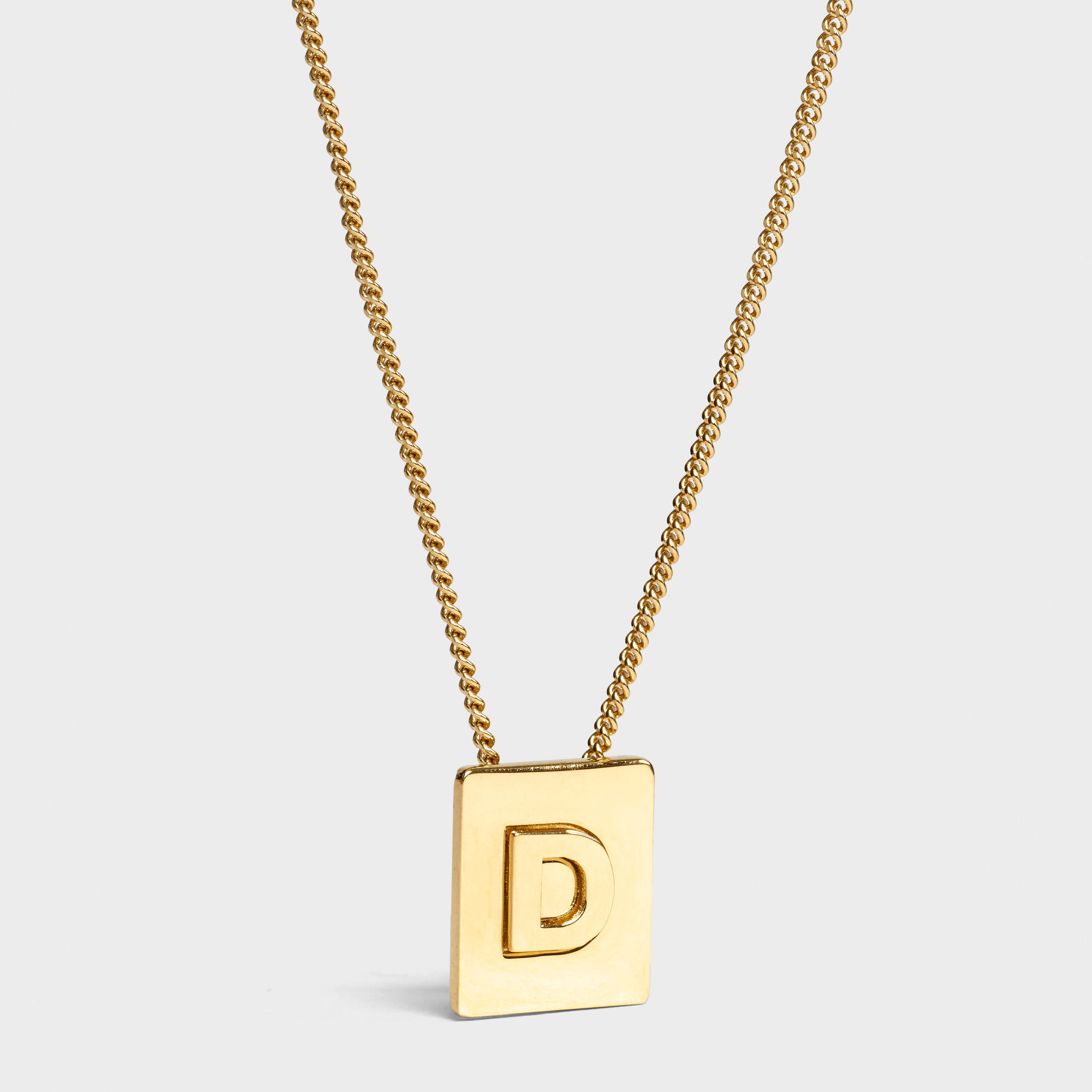 Alphabet D Necklace in Brass with Gold finish | CELINE